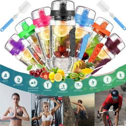 1000ML 32oz Fruit Infuser Sport Fitness Water Bottle with Br