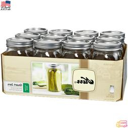 12 PACK 32 oz Mason Quart Jars with Lids and Bands Wide Mout