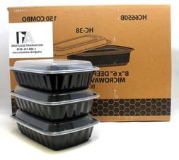 BlacWare 150 Meal Prep 2 Compartment Food Storage Containers