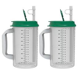 32 oz Hospital Mugs with Green Lids - Insulated Cold Drink