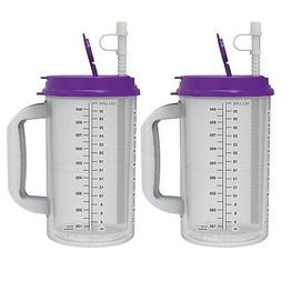 32 oz Hospital Mugs with Purple Lids - Insulated Cold Drink
