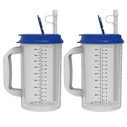 32 oz Hospital Mugs with Blue Lids - Insulated Cold Drink T
