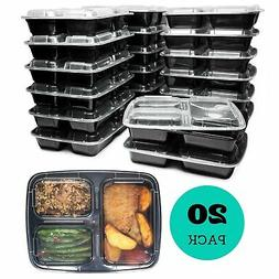 Meal Prep Containers  3 Compartments, 32 oz, Food Storage Be