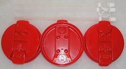 "3-Red Replacement lids and 3-11"" Flexible Straws for 32 oz H"
