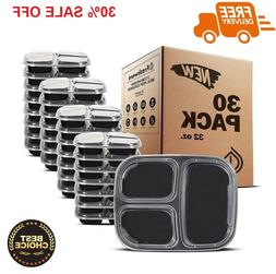 30 Pack Plastic Meal Prep Containers Storage Boxes 3 Compart