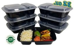 32 oz. Black Microwavable Meal Prep 2 Compartment Food Conta