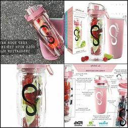 32 Oz Fruit Infuser Water Bottles with Time Marker - Insulat