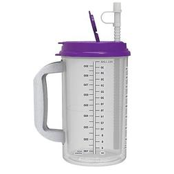 32 oz Hospital Mug with Purple Lid - Insulated Cold Drink Tr