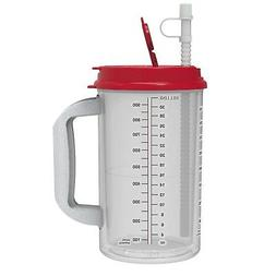 32 oz Hospital Mug with Red Lid - Insulated Cold Drink Trave