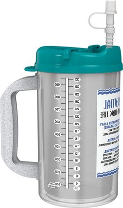 32 oz Insulated Hospital Mugs with Teal Lids & Straw   Water