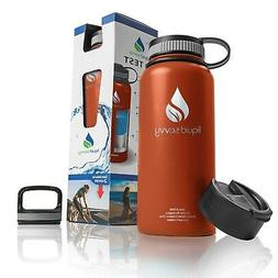 Liquid Savvy 32 oz Insulated Water Bottle with 3 lids - Stai
