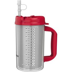 32 oz Red Double Wall Insulated Hospital Mugs - Swivel Lid D