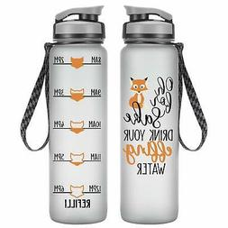 LEADO 32oz 1Liter Motivational Tracking Water Bottle with Ti
