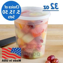 32 oz Heavy Duty Large Round Deli Food/Soup Plastic Containe