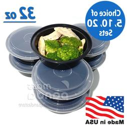 """32oz Meal Prep 7"""" Round Food Containers with Lids, Microwava"""