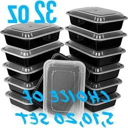 32oz Meal Prep Food Containers with Lids, Reusable Microwava