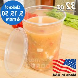 32 oz Round Deli Food/Soup Storage Containers w/ Lids Microw