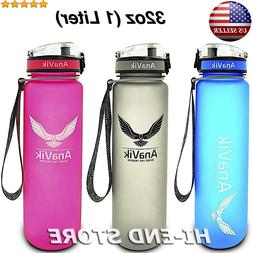 AnaVik 32oz Sports Water Bottle  BPA Free Non-toxic Gym Work