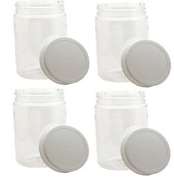4 Pack 32oz Clear Round Wide Mouth PET Plastic Bottle Jars W