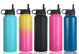 40 oz Stainless Steel WATER BOTTLE+Wide Mouth With Straw Lid
