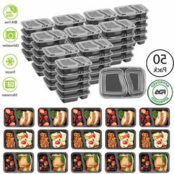 50 Meal Prep Containers Food Storage 2 Compartment Reusable