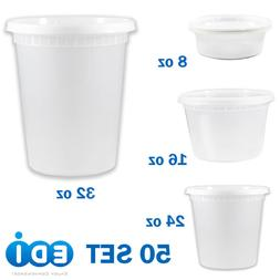 50 sets - 8, 16, 24, or 32 ounce Round Deli Containers Micro