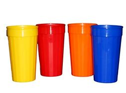 Plastic Fluted Drinking Tumblers, Large 32 Ounce, Pack 12 (3