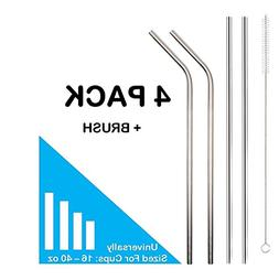 Set of 4 Stainless Steel Drinking Straws, Universally Fits 1