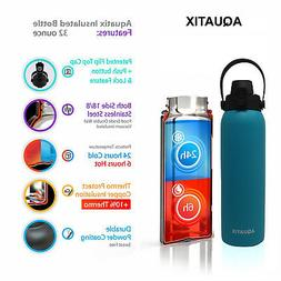 Aquatix Turquoise Insulated FlipTop Sport Bottle 32 oz Pure