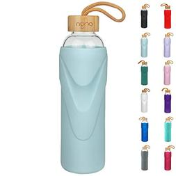 ORIGIN - Best BPA-Free Glass Water Bottle With Protective Si