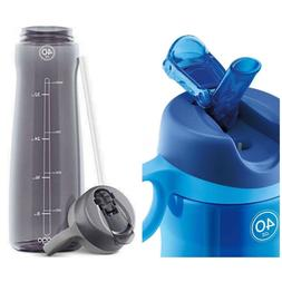 Pogo BPA-Free Plastic Water Bottle w/ Flip Straw Blue  Gray