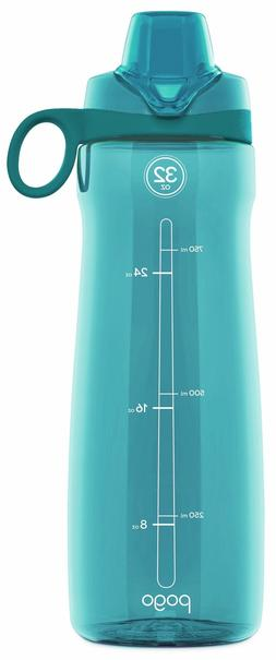 Pogo BPA-Free Plastic Water Bottle with Chug Lid, Blue Atoll