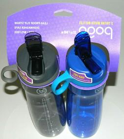 Pogo BPA-Free Plastic Water Bottle with Flip Straw, 24 oz.