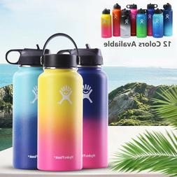 Flask Stainless Steel Water Bottle Thermos Straw Flip Lid Dr