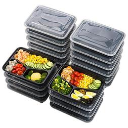 Meal Prep Food Containers 32 oz , Sable 3 Compartment Bento