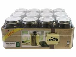 Glass Mason Jars with Lids and Bands 32 Oz. 12 Count Kerr Wi