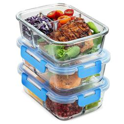 Glass Meal Prep Containers 3-Compartment - 3-Pack 32oz Prep,