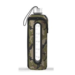 32 Oz Glass Water Bottle Insulated Sleeve Leak Proof Lids Ti