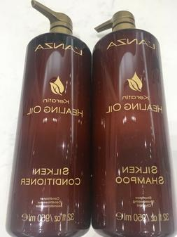 LANZA Keratin Healing Oil Silken Shampoo & Conditioner 32oz