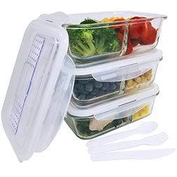 KitchenBasix 2 & 3 Compartments Glass Food Storage Container