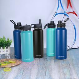 KOPOTU Wide Mouth Stainless Steel Water Bottle With Straw Li