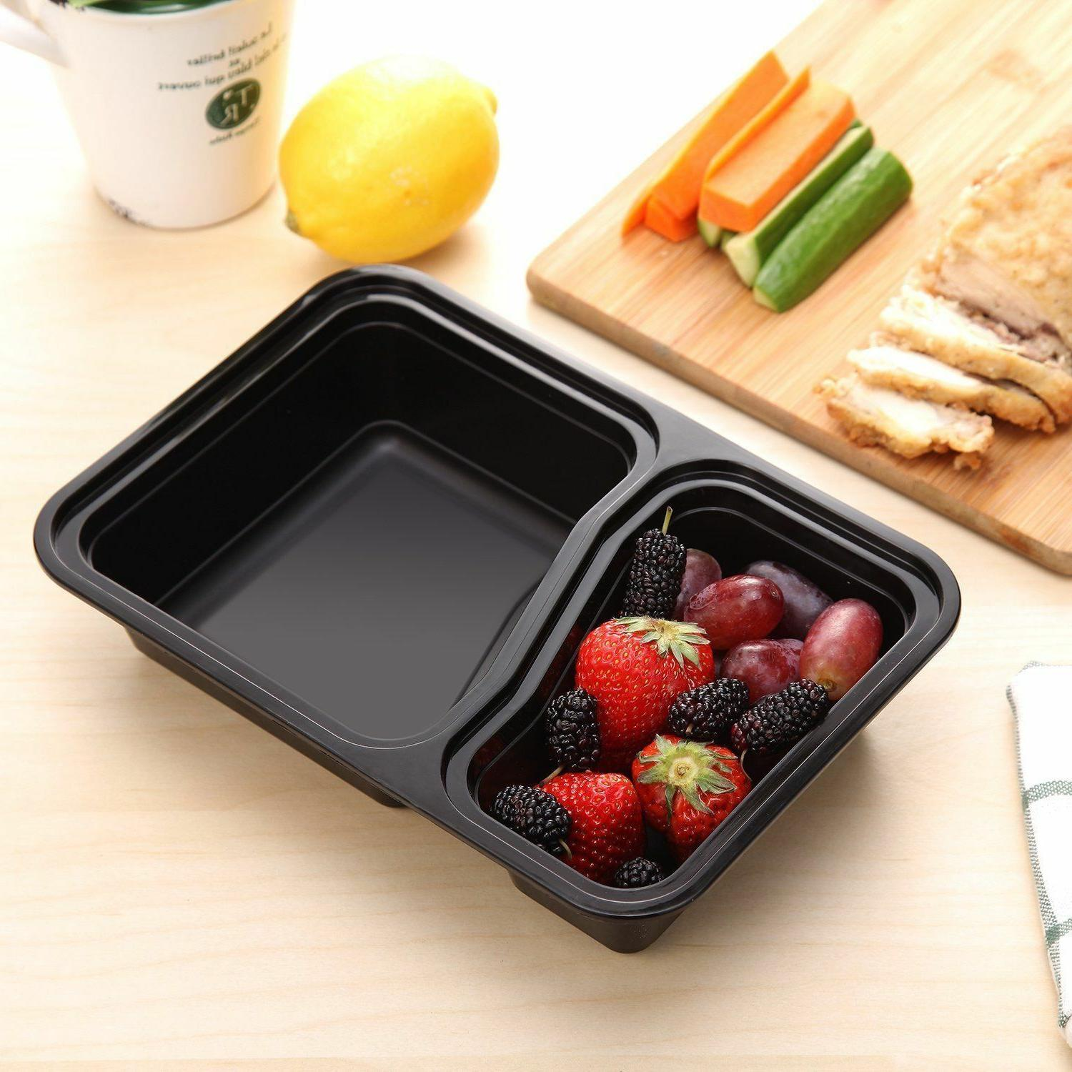 15 Containers 2 Compartment Food Storage Plastic Microwavable