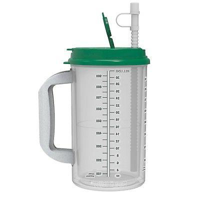 32 oz Hospital Mug with Green Lid - Insulated Cold Drink Tra