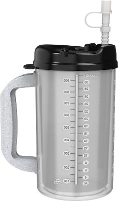 32 oz Hospital Mugs with Black Lids - Insulated Cold Drink
