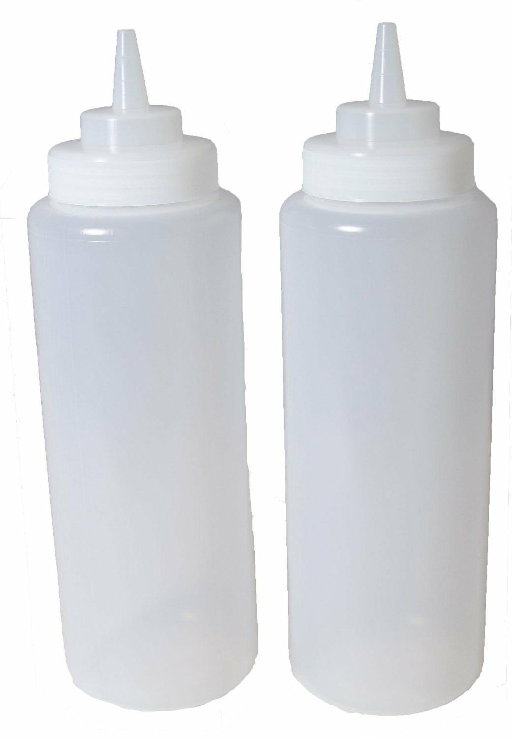 2x 32 oz ounce large clear squeeze