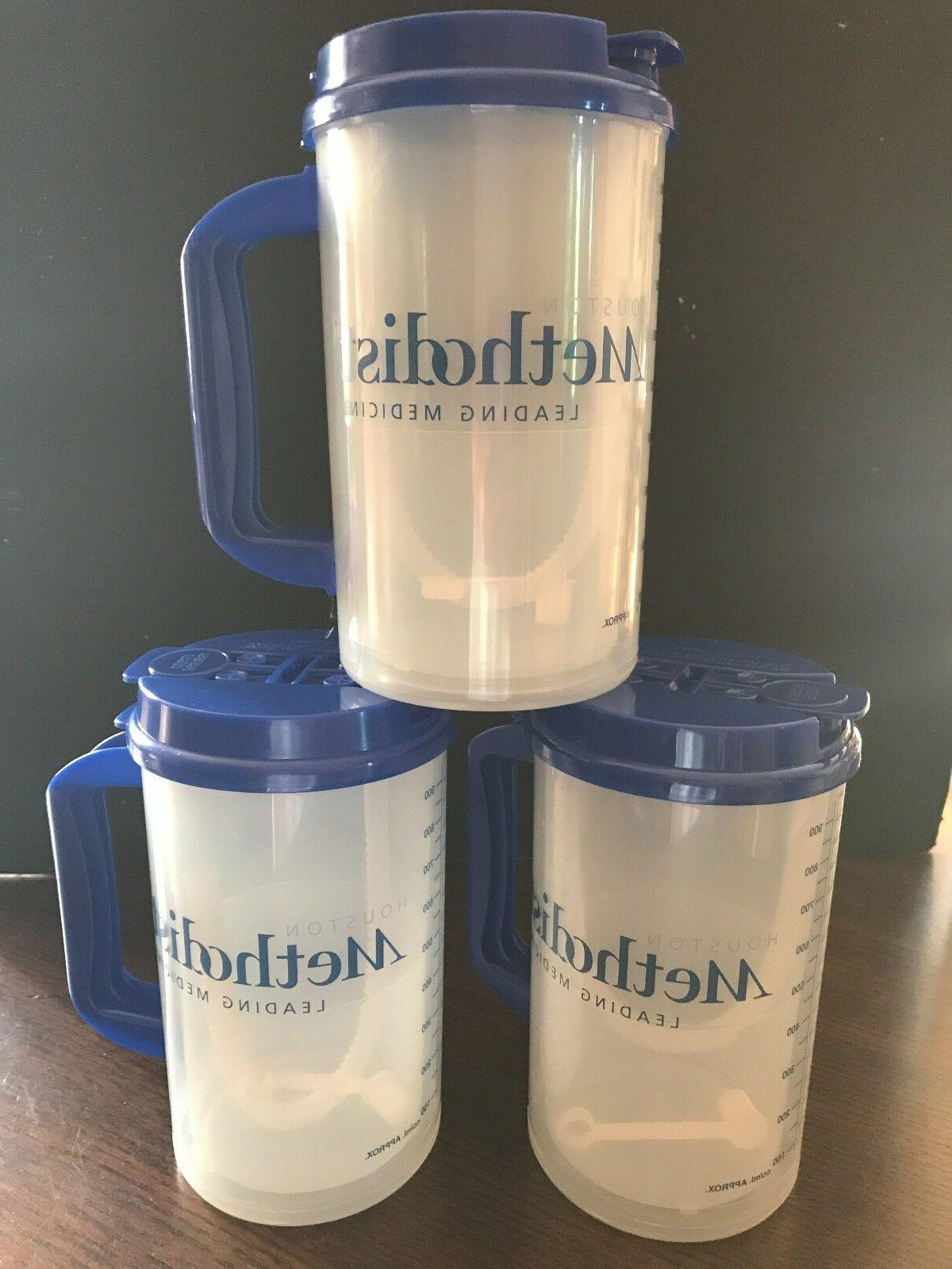 NEW 3 Insulated Hospital Mugs Blue lids Whirley Drink Works
