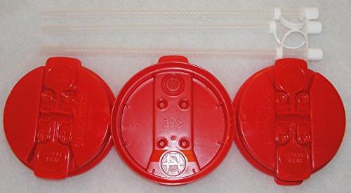 3 red replacement lids flexible
