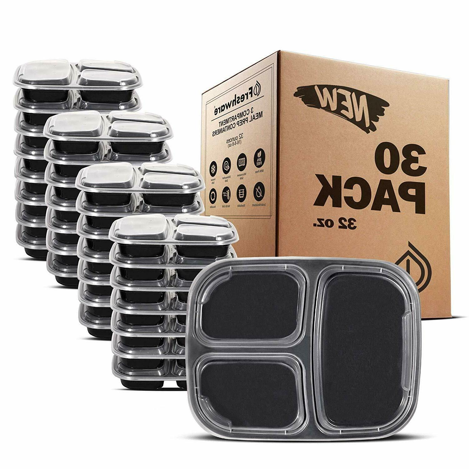 30 pack plastic meal prep containers storage
