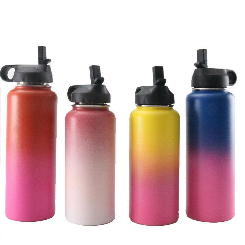 32/40oz Flask Mouth Water Bottles With Straw