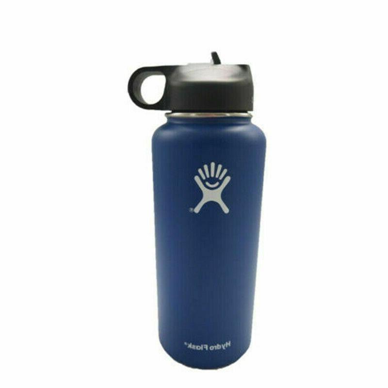 32/40oz Flask Sport Water Bottle Wide Stainless Straw Lids